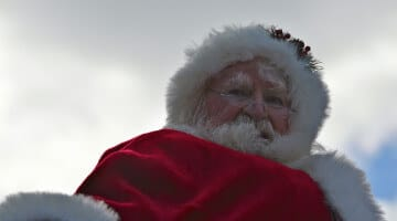 Santa looks down at the crowd during a parade in Philadelphia.