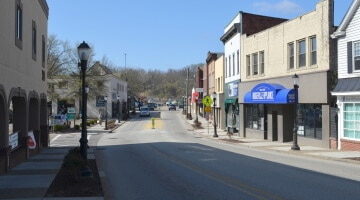 A view of Washington Avenue in Bridgeville, Pennsylvania