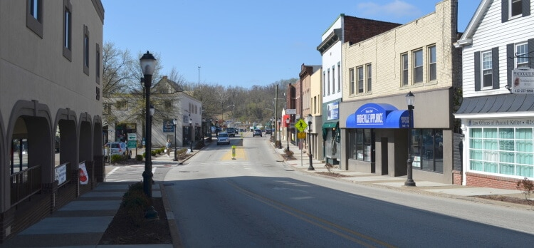 A view of Washington Avenue in Bridgeville, Pennsylvania