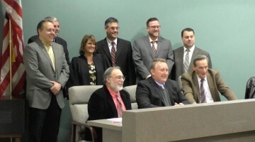 Bridgeville borough council poses for a photo after new and re-elected members were sworn in on Jan. 4, 2016
