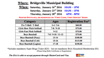 A screen capture that lists signup times for the 2016 Bridgeville Athletic Association baseball, softball, and T-ball season