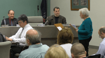 Bridgeville Area Historical Society President Mary Weise speaks at the March 14 Borough Council Meeting