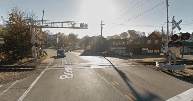 The railroad crossing on Bower Hill Road in Bridgeville