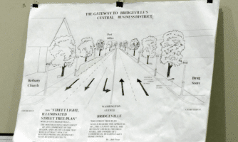 Bob Fryer's rendering of a tree-lined Washington Avenue using only private land