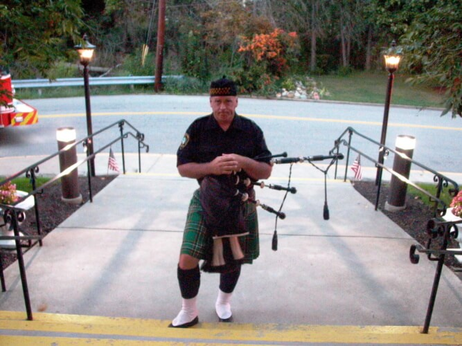 A bagpipe player shown during Bridgeville's 9/11 remembrance ceremony on Sept. 11, 2016.