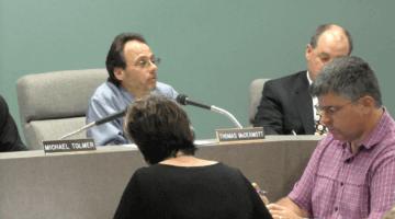 Bridgeville Borough Council Solicitor Thomas McDermott listens to a resident during the Sept. 12, 2016 borough council.