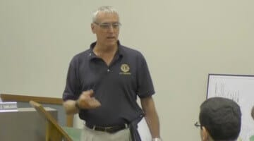 Dan Hupp, of the Lions Club, speaks at the August Bridgeville Borough Council Meeting