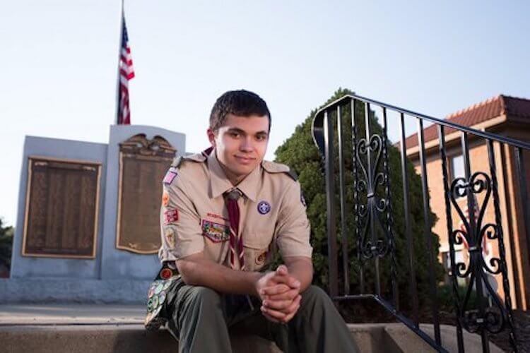Jack Ghelarducci sits on the steps of the Bridgeville War Memorial on Washington Ave.