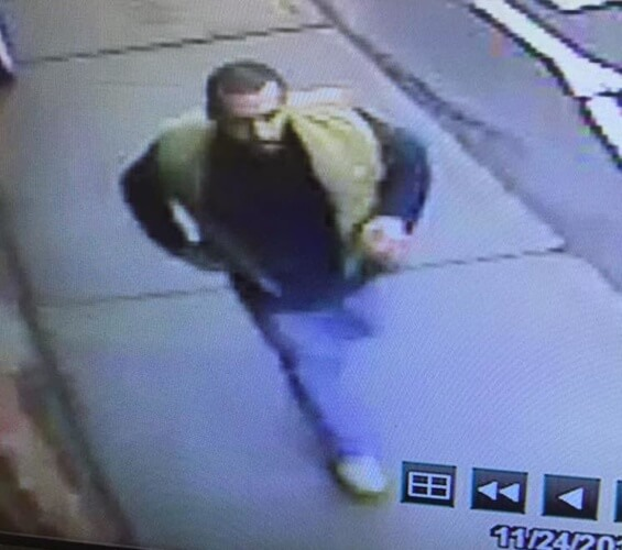 Security camera photo of suspect in Nov. 24 gas station robbery.