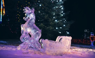 Photo of a reindeer ice sculpture