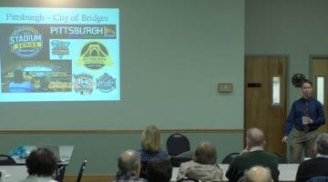 Author Todd Wilson discusses the history of Pittsburgh's bridges at a Bridgeville Area Historical Society event on Feb. 26, 2017
