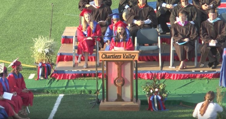 A scene from Chartiers Valley High School's 2017 commencement ceremony