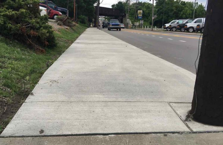 A photo of the reconstructed sidewalk on Washington Avenue in Bridgeville near the railroad overpass near the Collier Township border.