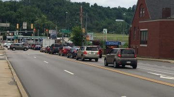 Cars wait at a red light at the intersection of Washington Avenue and Chartiers Street in Bridgeville.