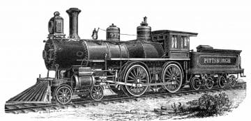 A sketch of a locomotive of the type that would have used the Little Saw Mill Run Railroad circa 1897.