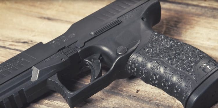 A close up view of the Walther PPQ .45 ACP handgun