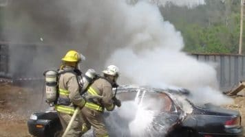 Firefighters in Barren Springs, VA extinguish a car fire during a drill using F-500 Encapsulator Agent