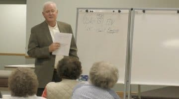 Glenn Flickinger discusses the origins of World War II at a Bridgeville Historical Society event on Oct. 24, 2017.