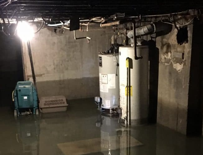 Todd Bradley's basement after the flooding began receding.