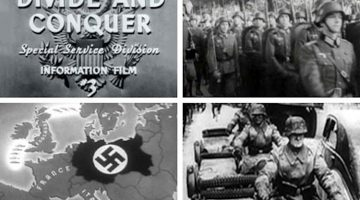 "Screen captures from the Frank Capra created ""Why We Fight"" series of propaganda films"