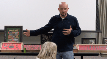 Rob Hilt discusses metal detecting American history at the Bridgeville Area Historical Society on March 27, 2018.