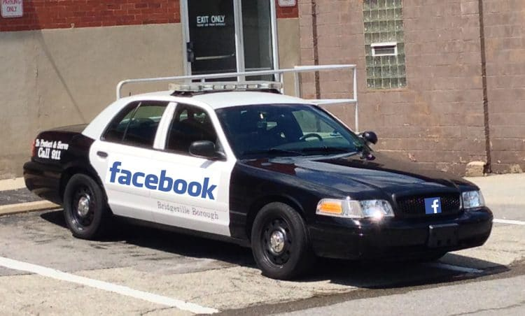 A Bridgeville Police car Photoshopped to add a Facebook logo on the side and on the front grille.