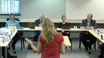 Chartiers Valley resident Michelle Sedlak addresses the district's school board on May 8, 2018.