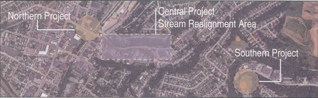 The three areas of Bridgeville that would be altered by the Baldwin Street project.