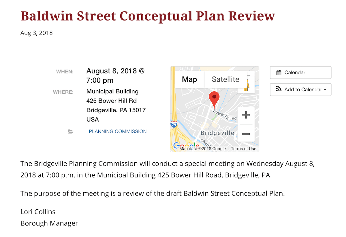 A notice for the Aug. 3 Bridgeville planning commission meeting