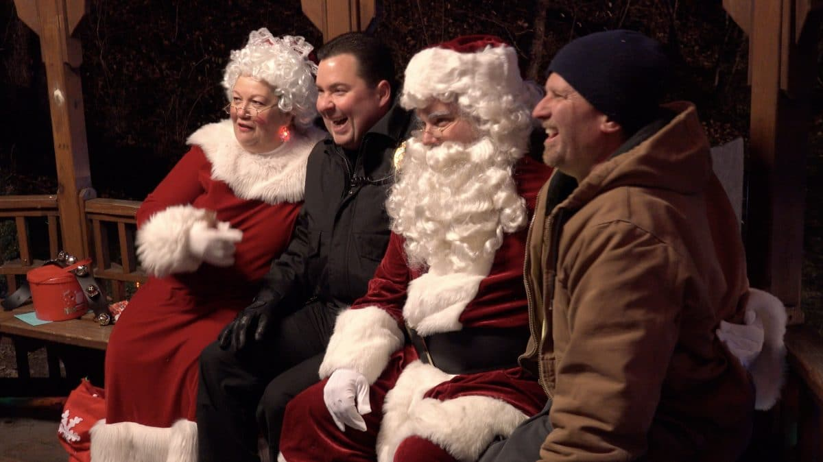Bridgeville police chief Chad King and fire chief Bill Chilleo share their Christmas wishes with Santa and Mrs. Claus.