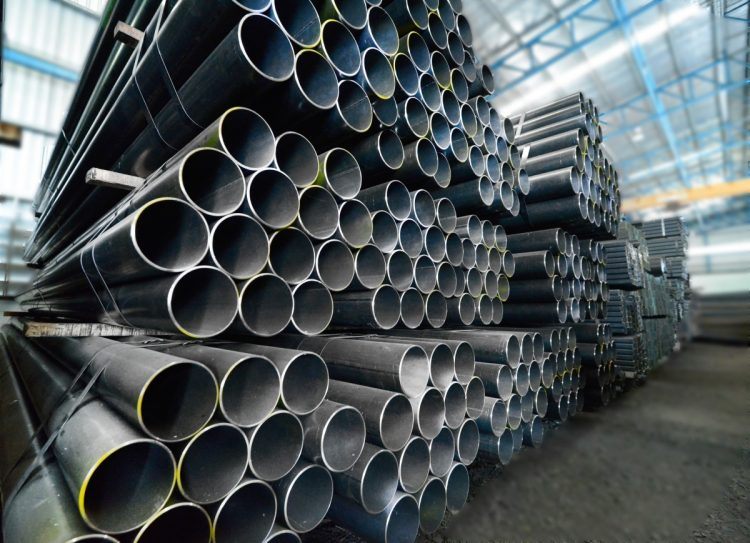 Steel pipes like these could be driven deep into the McLaughlin creekbed to stop large debris from reaching Bridgeville's populated areas.