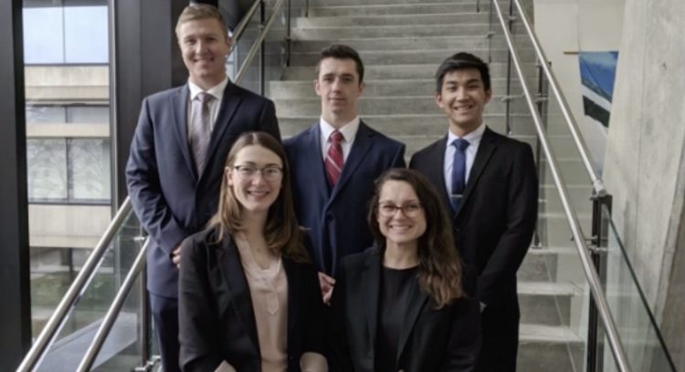 Pitt engineering students (l-r) Jack James, Cecilia Burke, Mason Krushinsky, Jessica Marquis, and Jonny Nguyen.