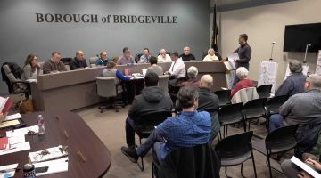 Planning Commission Tim Nath (standing) address Bridgeville Borough Council at the Feb. 11, 2018 council meeting.