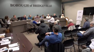 Bridgeville Borough councilmembers at the start of their Feb. 11, 2019 meeting.