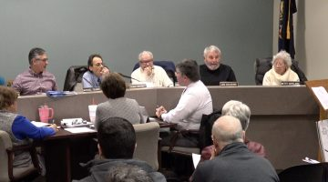 Bridgeville Borough councilman Joe Colosimo makes the motion to approve a county-required hot water install at Chartiers Park.
