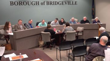 Bridgeville Borough Council, moments after the vote to replace the borough's longtime engineering firm.