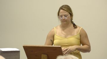 Bri Chilleo speaks at the August 12, 2019 Bridgeville Borough Council meeting.