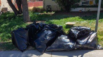 Trash bags on a corner awaiting pickup