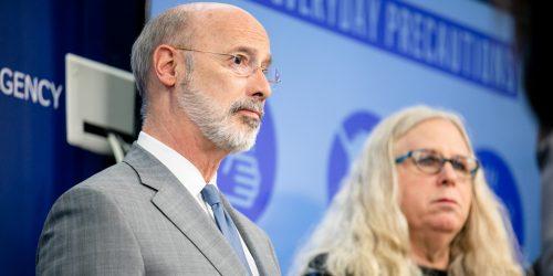 PA Gov. Tom Wolf and Health Secretary Rachel Levine.