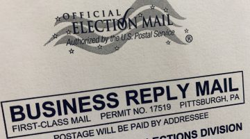 The return envelope for an Allegheny County primary election mail-in ballot