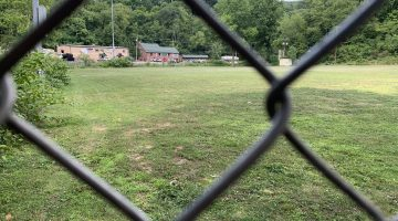 This baseball / softball field at McLaughlin Park will soon serve an additional role—retention pond during heavy rains.