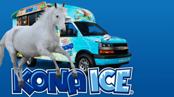 a white horse chases a Hawaiian ice truck