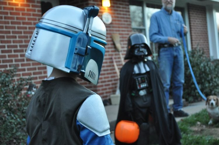 Brothers Logan and Derek Jantz get ready to face off Wednesday, Oct. 31, 2012, in Columbia. The two were dressed as a bounty hunter and Darth Vader respectively.
