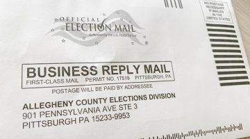 Mail-in ballot envelope.