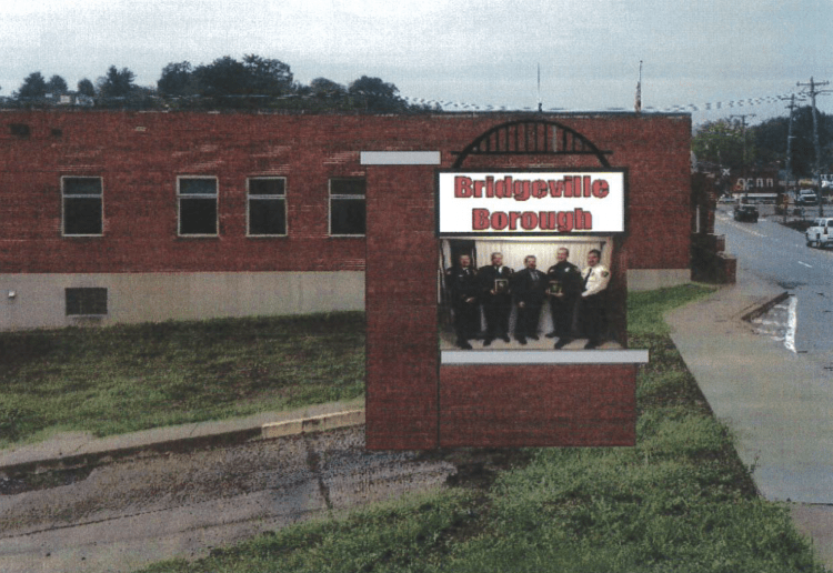 Artist's rendering of an LED message board that will be installed across from the Bridgeville Municipal Building at Darby Way