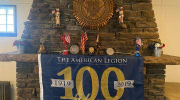 A 100th anniversary banner hangs at Bridgeville American Legion Post 54