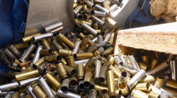 Empty ammunition casing like these can be reloaded with new bullets, primers, and gunpowder.