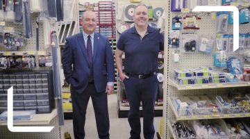 Bridgeville residents Joe Verduci (l) and Jason Sarasnick appear in a commercial spotlighting Brentwood Bank and Sarasnick's True Value Hardware.